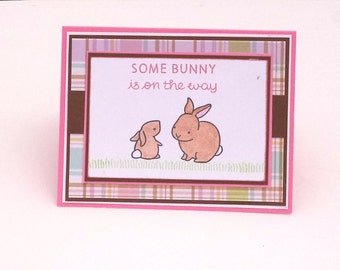 Baby Girl Announcement Card, New Baby Card, Baby Shower Card, Some Bunny is on the Way, Brown and Pink Plaid card, Bunny Baby Card