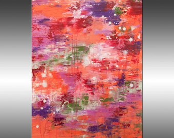 Flower Garden - Art Abstract Painting Large Colorful Wall Art Textured Painting Orange Pink, Canvas Art Industrial Rustic Modern Art