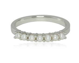 Wedding Band, Prong Set Pearl Platinum Birthstone Ring, Mother's Ring - June Birthstone Ring - LS3154