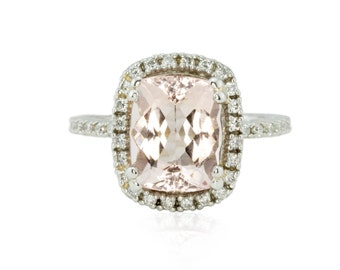 Morganite Engagement Ring, 3 carat Pink Morganite Ring, Cushion Cut Morganite Engagement Ring, Diamond Halo Engagement Ring - LS2742