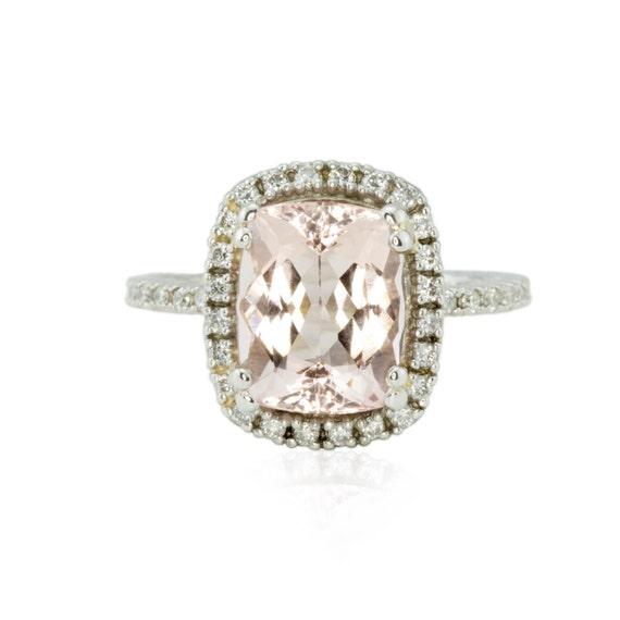 Morganite Engagement Ring 3 carat Pink Morganite Ring