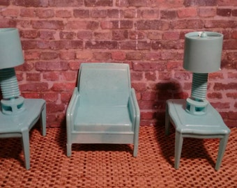 "Pale Aqua Lamps and Turquoise Side Table Set 3/4"" Scale"