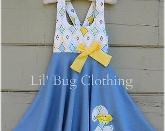 Girls Summer Birthday Party Dress, Girls Diamond Argyle Dress, Custom Boutique Girl Dress