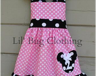Custom Boutique Clothing Black White Bubble Gum Pink Dot Personalized Minnie Mouse Halter Dress