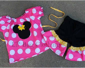 Jumbo Dot Hot Pink Yellow Minnie Mouse Short Sleeved Peasant Top and Comfy Knit Shorts  Custom Boutique Girl