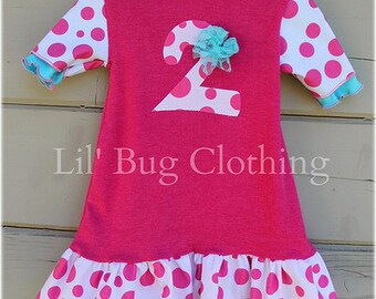 Custom Boutique Clothing White Pink Polka Dot Comfy Knit Tee Birthday Dress Personalized