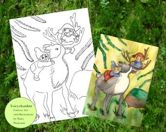 Digital Stamp Elves and reindeer Instant Download Coloring page Arts&crafts Card Making Printable Illustration Fantasy art by Niina Niskanen