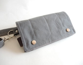 Hip Bag Fanny Pack  Traveler Bag Utility Hip Belt Hip Pouch in Gray Waxed Canvas Hipshack maytreeark mothers helper smartphone gym bag