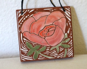 tiny rose hand carved ceramic art tile