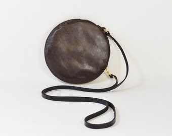 Cici - Handmade Brown Leather Round Shoulder Bag Zip Pouch Purse AW15