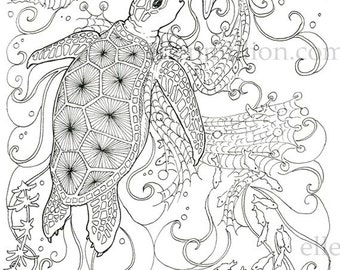 Netted Giant Sea Turtle Digi Stamp Digital Coloring Page for adults - for scrapbooking or cards or coloring