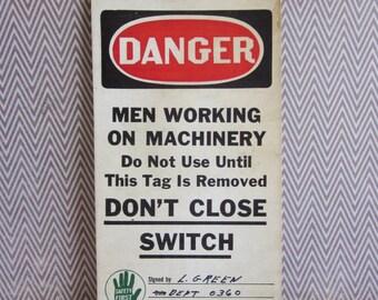 Vintage Danger Men Working on Machinery Cardboard Tag
