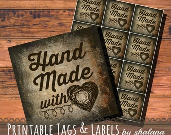 Printable PDF Tags - Vintage Hand Made with Love Labels