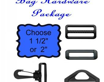 """10 Sets - HAND BAG HARDWARE Package - Black Plastic - 1 1/2"""" or 2"""""""