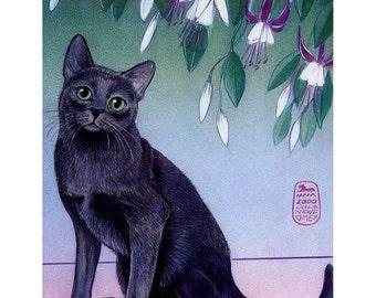 Cat art print of my original painting,Silver Radience, Korat cat, gray cat