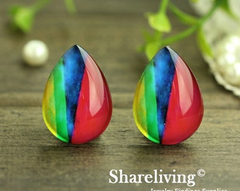20% OFF - Handmade 13x18mm Teardrop Glass Cabochon, 10x14mm, 18x25mm Color Glass Dome - BCH979G