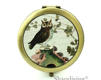 1pcs Vintage Owl Pocket Mirror, Compact Mirror, Antique Bronze Silver Gold Makeup Mirror, Personalized Mirror - HPM011C