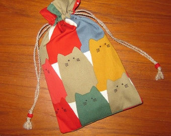 Japanese Cats Design Tiny Tote Pouch Purse Organizer