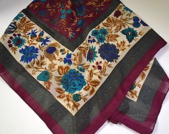 Vintage Silk  Scarf Blue Flowers 30 inch Sq