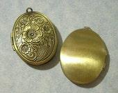 Bronze Oval Locket, Etched Floral Locket, Memory Locket