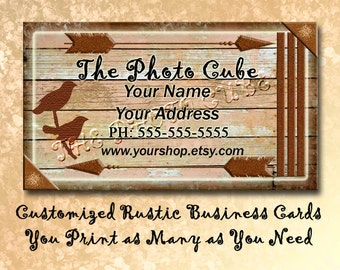 Custom Rustic Business Cards- Primitive Wood Style -Personalized Printable JPG Digital File- Unique