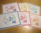 Stampin'Up Thank you card set of 6 Painted Petals Multi-colors A2 Layered Greeting Cards Blank Inside with Envelopes