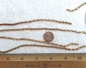"6 Vintage 1980's Brass Snake Chain Lengths, 3mm x 5mm Rectangle Links, 16 1/2"" Each, 8.25 Feet Total, Soldered Links"