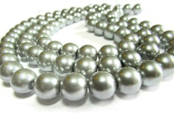 10 Inch Strand of 10 mm Silver Glass Pearl Beads Faux Pearls