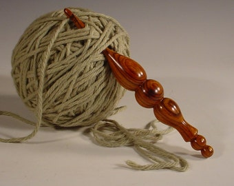 Exotic Cocobolo Hand Turned Wooden Crochet Hook