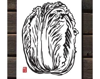 "Napa Cabbage 11""x14"" Letterpress Art Print"