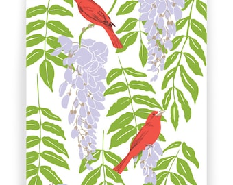 Wisteria and Tanagers Boxed Set of 8 Cards