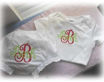 Two Piece Monogrammed Infant Onesie and Bloomers/Diaper Cover Set