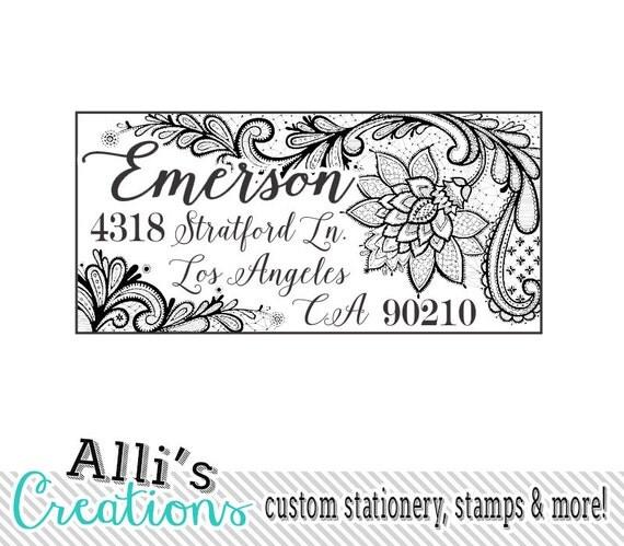 Ornate Lace Return Address Stamp Self Inking Address Label