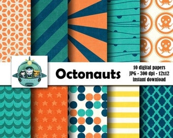 Octonauts Themed Digital Scrapbooking Background Papers - 12x12 300 ppi - DiY - INSTANT DOWNLOAD
