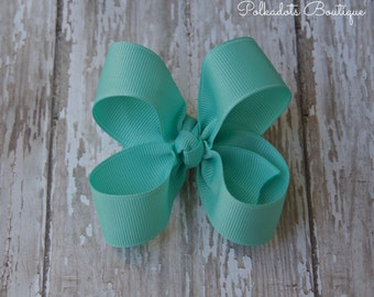 Aqua Toddler Hair Bow 3 Inch Alligator Clip Baby Hairbow Aqua Baby Hair Bow Aqua Alligator Clip Baby Hair Bow