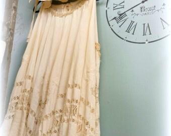 2 Piece Cami SEt, BoHo Skirt, Long skirt, Neutrals, ties, ribbons, lace, bead trim