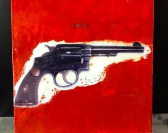 original encaustic painting- 8x8 inch  BANG