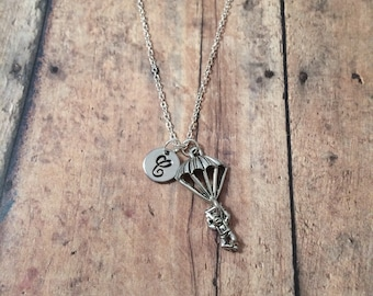 Parachutist initial necklace - ranger necklace, military jewelry, silver parachute necklace, military necklace, parachutist necklace