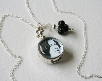 Oscar Wilde Glass Locket Charm Necklace Memento Mori