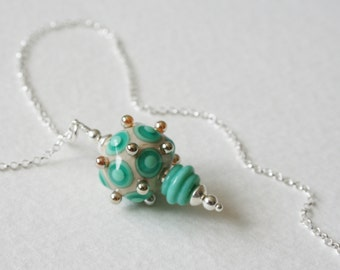 Turquoise Sea Green Sterling Silver Glass Lamp Work Bead Charm Necklace