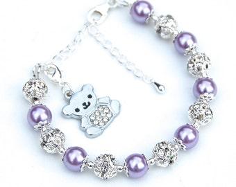 Teddy Bear Jewelry, Teddy Bear Charm Bracelet, Kids Gift, Girls Gift, Girls Jewelry, Cute Teddy Bead Jewelry, Gift for Little Girl