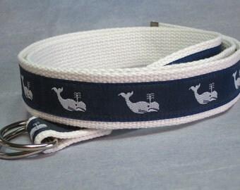 Women's Canvas Belt White Whale D-Ring Belt Preppy Ribbon Belt / Nautical Webbing Belt for women, teens, girls, plus size women