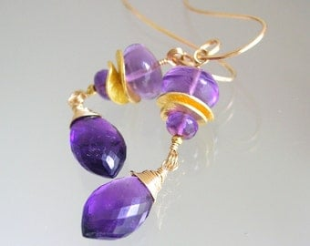 Vibrant Amethyst Gold Filled Earrings, Linear Vermeil Gemstone Dangles, Everyday, Lightweight, Purple, Original Design, Signature