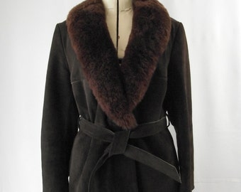 Leather Trench Coat with Shearling Collar 1970s Chocolate Brown Small Bohemian Penny Lane