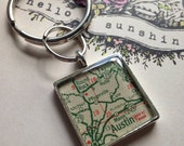 Map KeyRing Custom Made for your Man, Male Gift, GrandFather Gift