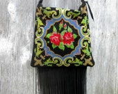 RESERVED for Cristy Bohemian Rose Black Leather Fringe Bag with Vintage Needlepoint by Stacy Leigh