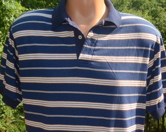 vintage 70s polo golf shirt LORD JEFF striped soft navy blue collared Medium preppy
