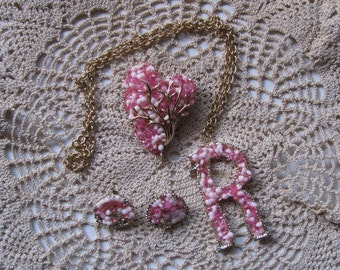 Pink Jewelry Set / Letter 'R'
