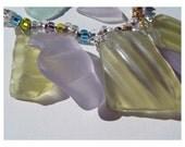 Antique Idaho Prairie Glass - Jewelry SET - Desert Shards - Sea Glass Cousin