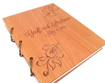 Wooden Wedding Guest Book Photo Album LARGE SIZE - Hibiscus Design